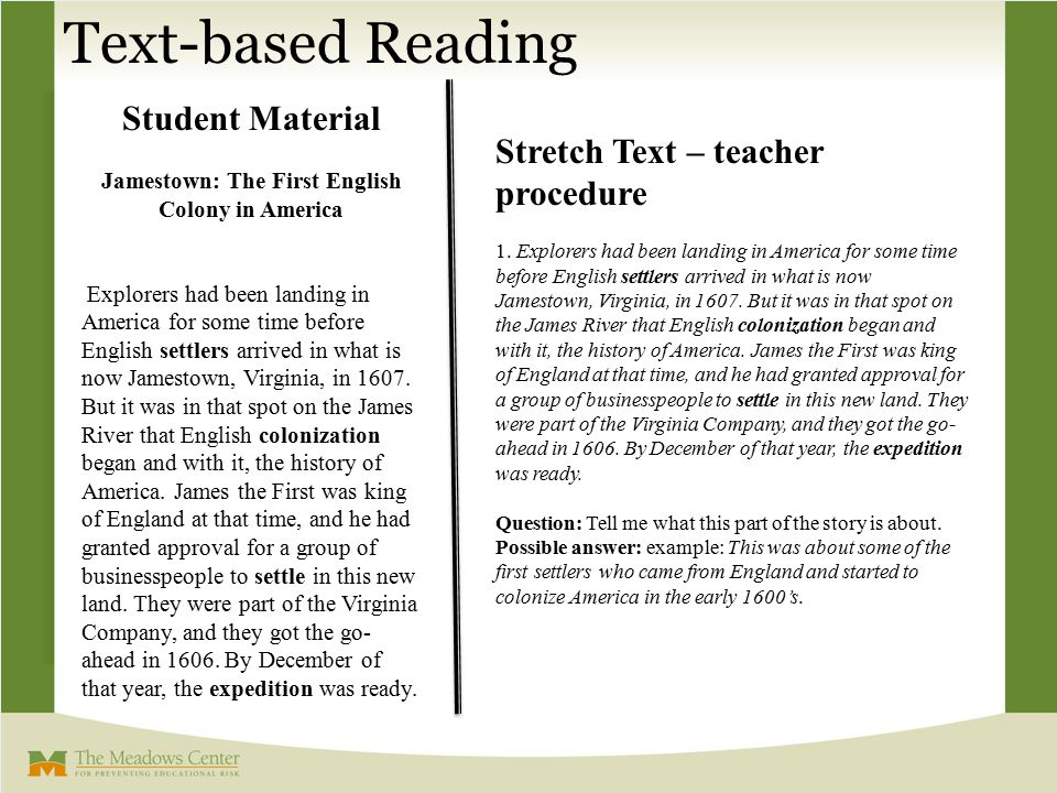 Stretch Text – teacher procedure 1. Explorers had been landing in America for some time before English settlers arrived in what is now Jamestown, Virg