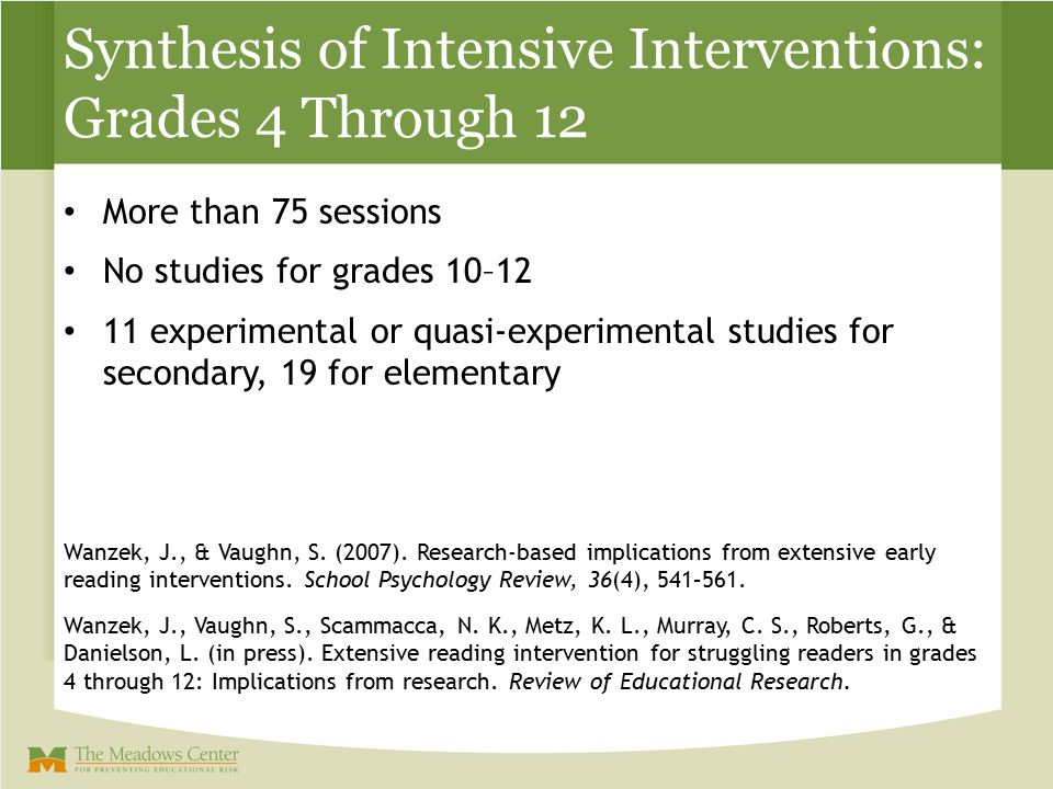 Synthesis of Intensive Interventions: Grades 4 Through 12 More than 75 sessions No studies for grades 10–12 11 experimental or quasi-experimental stud