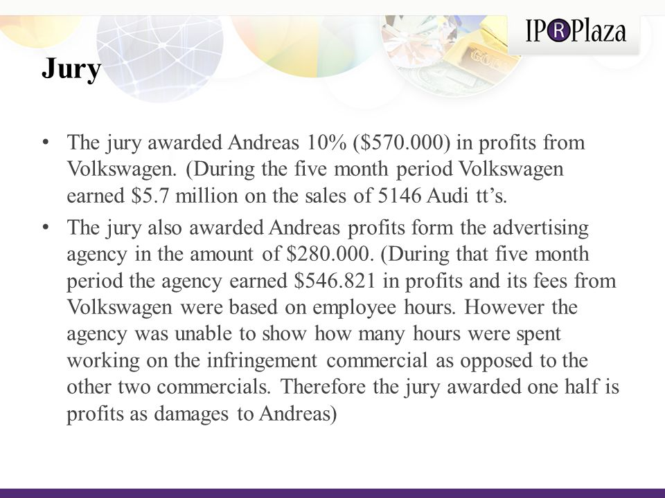 District Court decision The district court granted Volkswagen's motion for judgment as a matter of law because it found that Andreas failed to prove the causal connection between the infringement and the car sales.