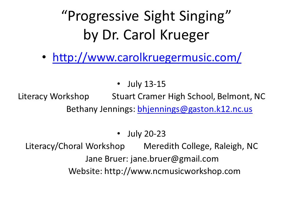 Progressive Sight Singing by Dr.