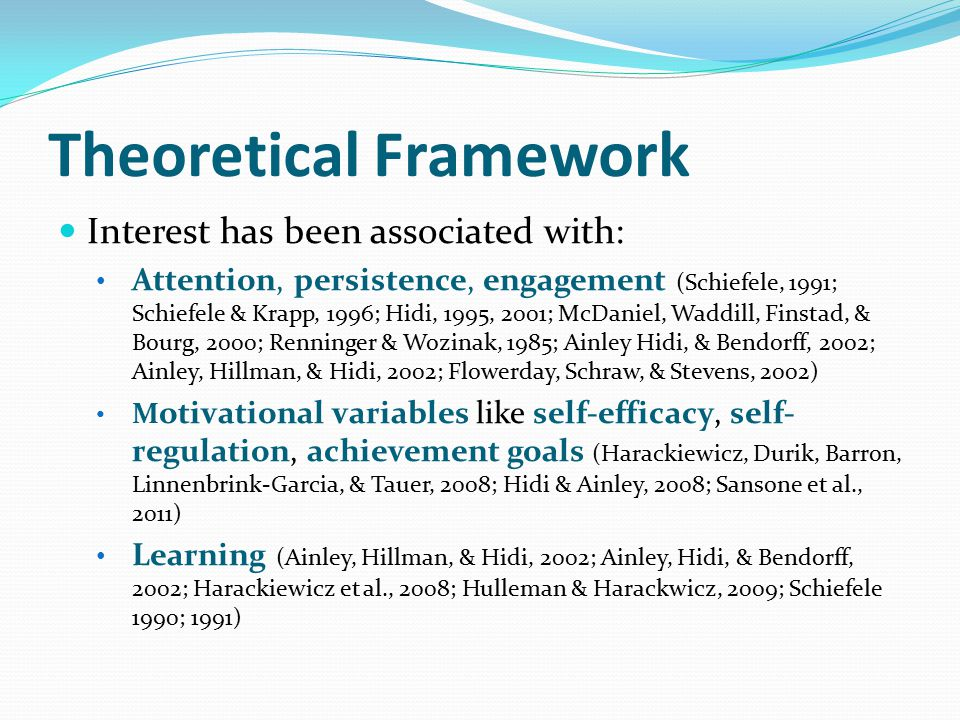 Theoretical Framework Interest has been associated with: Attention, persistence, engagement (Schiefele, 1991; Schiefele & Krapp, 1996; Hidi, 1995, 200