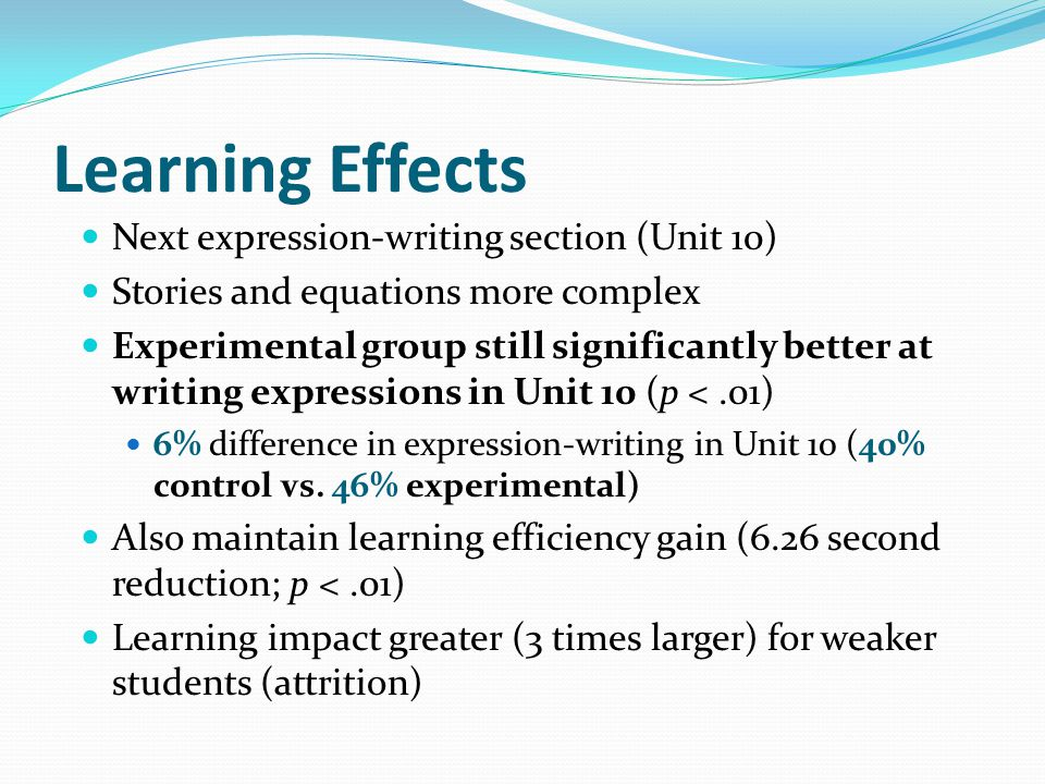 Learning Effects Next expression-writing section (Unit 10) Stories and equations more complex Experimental group still significantly better at writing