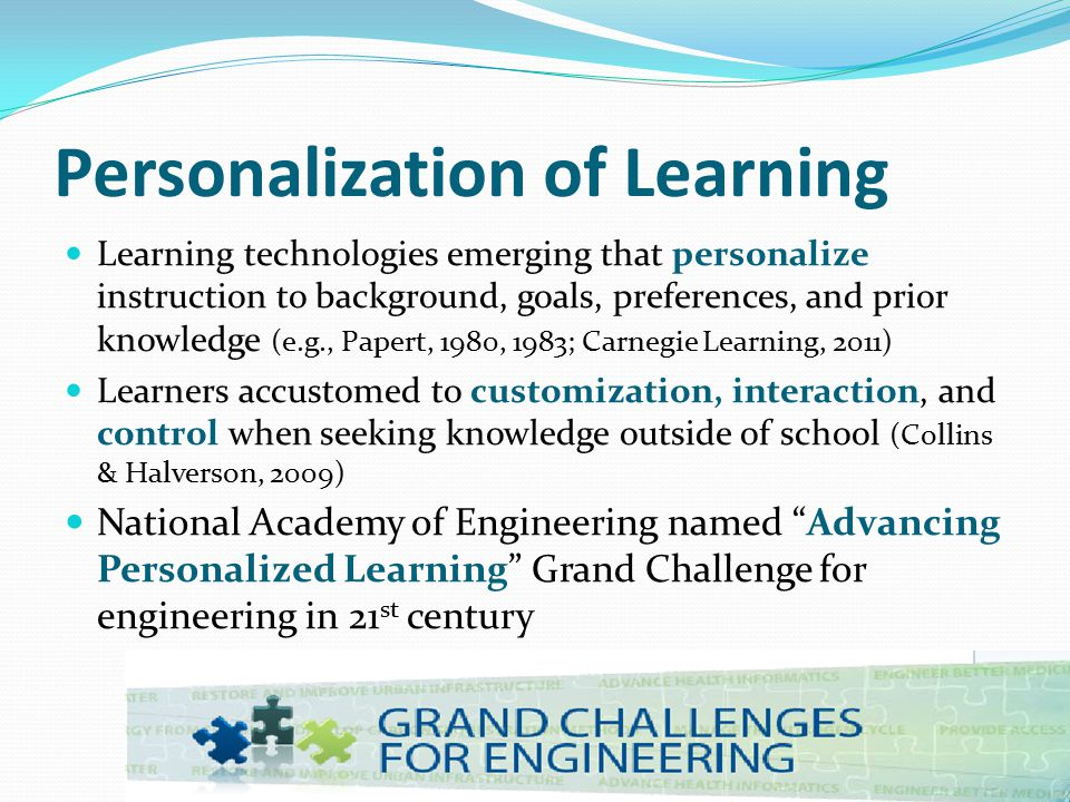 Context Personalization Matching instructional components with students' personal interests and experiences (e.g., sports, gaming, movies, etc.).
