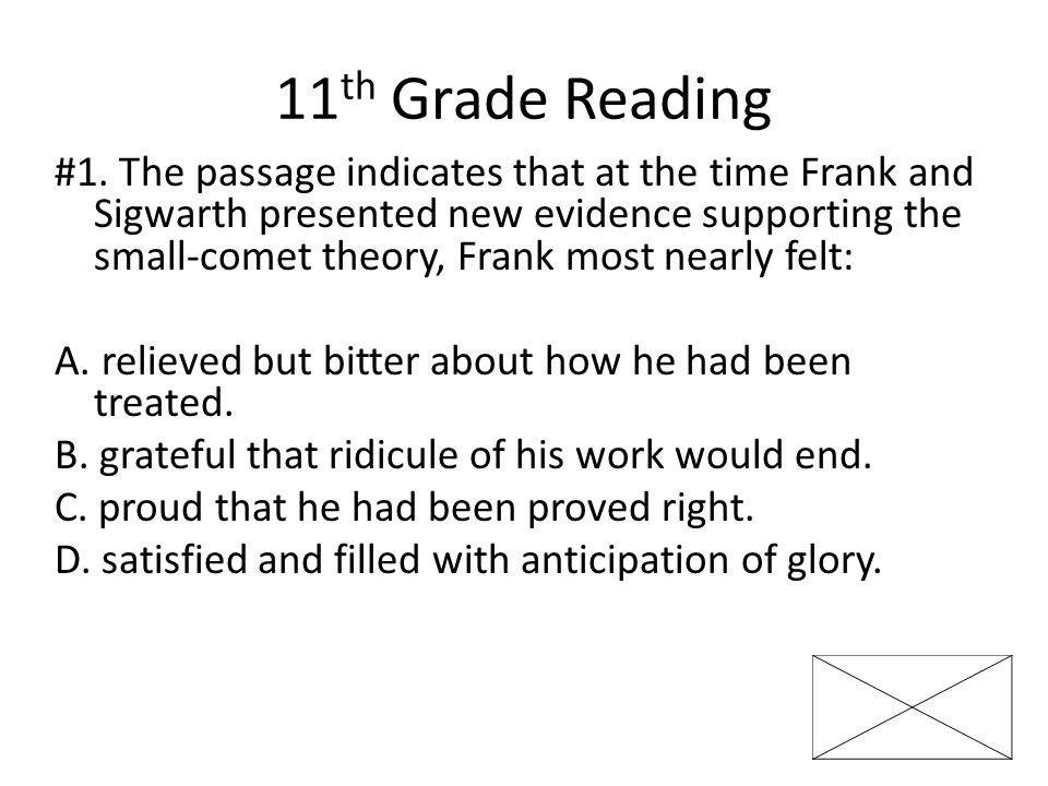 11 th Grade Reading #1.