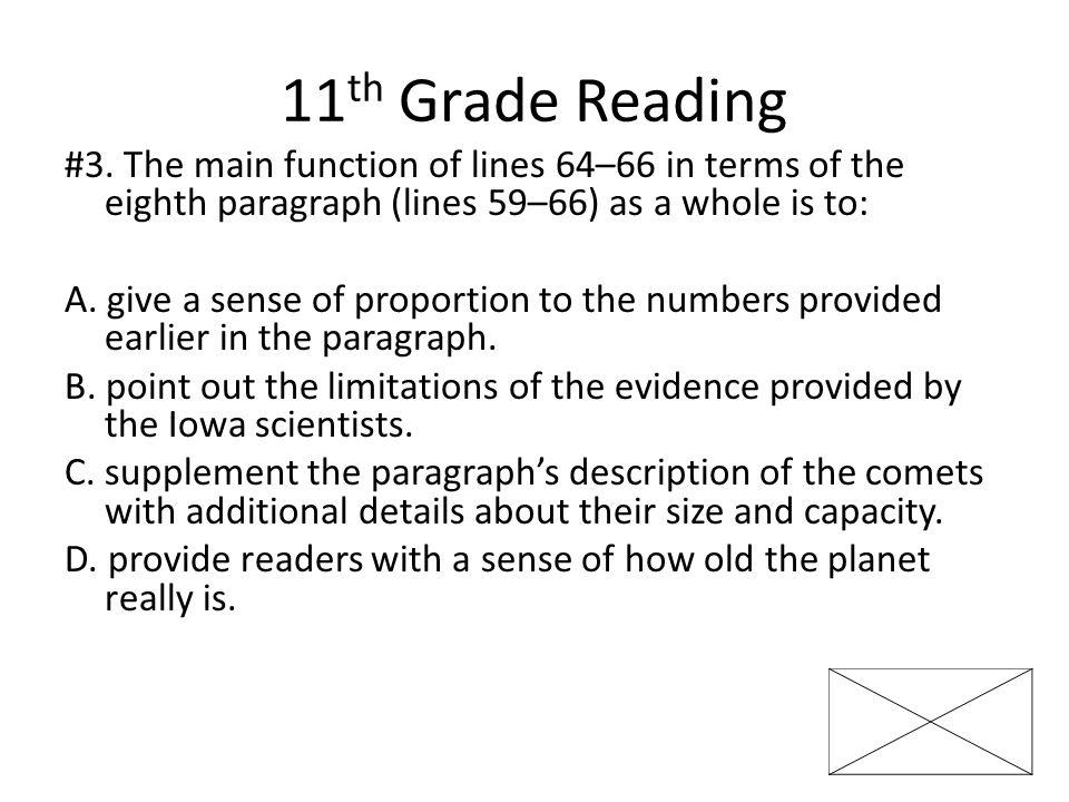 11 th Grade Reading #3.