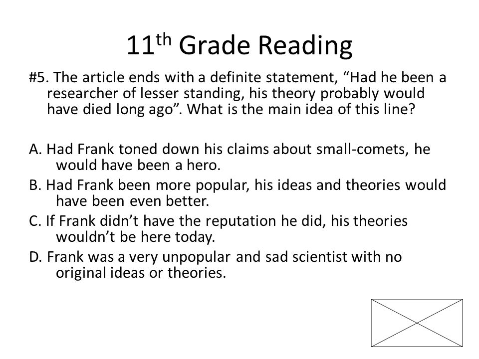 11 th Grade Reading #5.