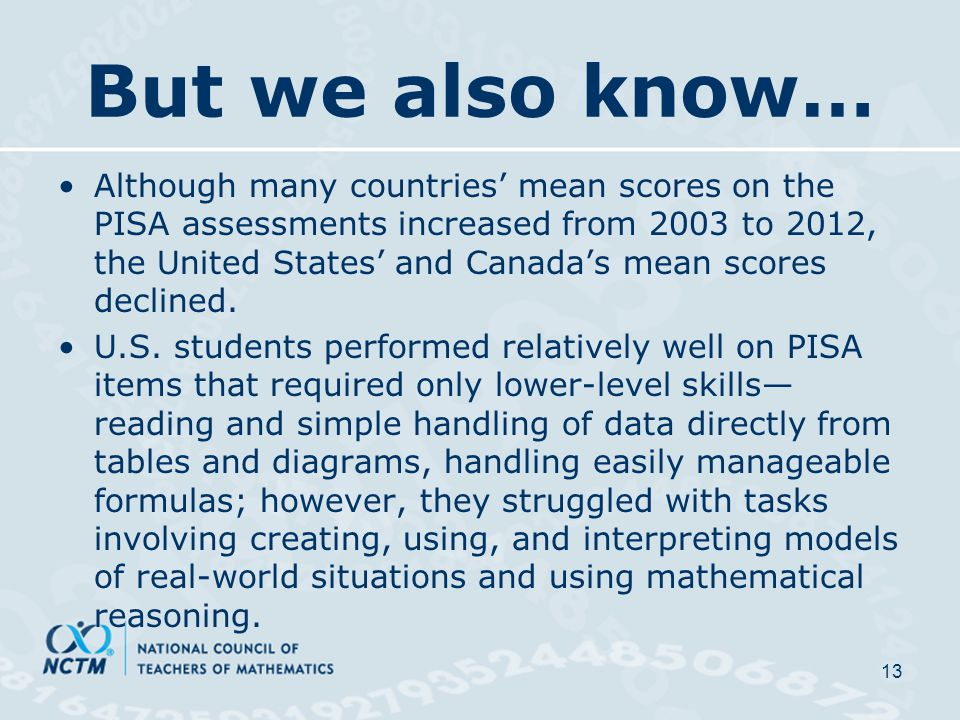 But we also know… Although many countries' mean scores on the PISA assessments increased from 2003 to 2012, the United States' and Canada's mean scores declined.