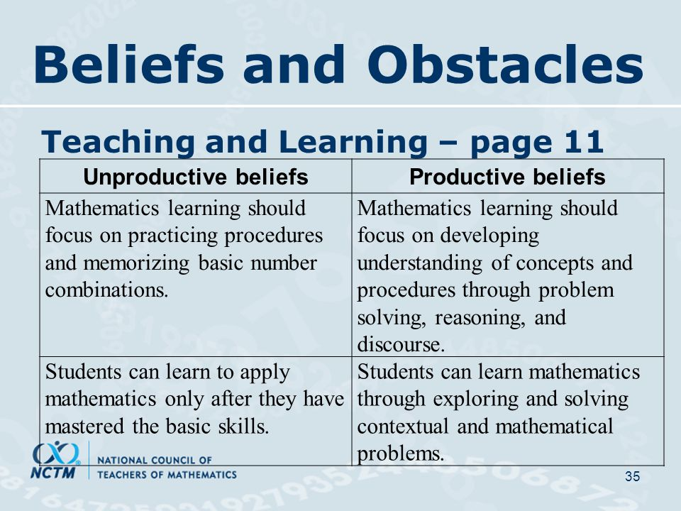 Beliefs and Obstacles Teaching and Learning – page 11 35 Unproductive beliefsProductive beliefs Mathematics learning should focus on practicing procedures and memorizing basic number combinations.