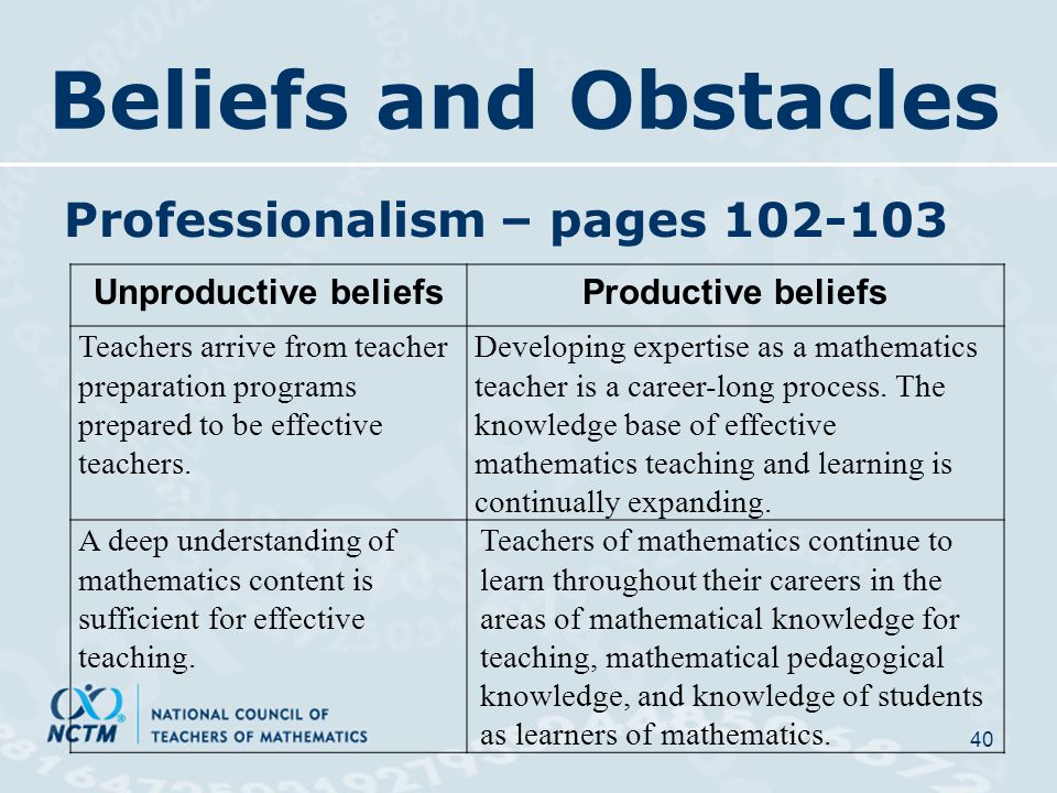 Beliefs and Obstacles Professionalism – pages 102-103 40 Unproductive beliefsProductive beliefs Teachers arrive from teacher preparation programs prepared to be effective teachers.