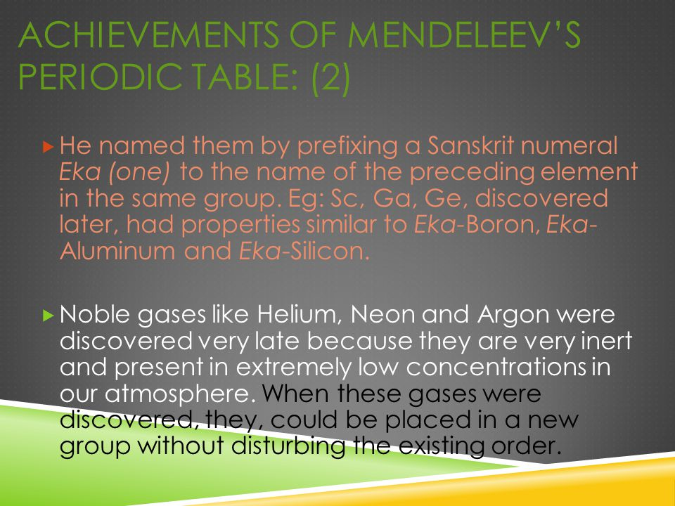 ACHIEVEMENTS OF MENDELEEV'S PERIODIC TABLE: (2)  He named them by prefixing a Sanskrit numeral Eka (one) to the name of the preceding element in the