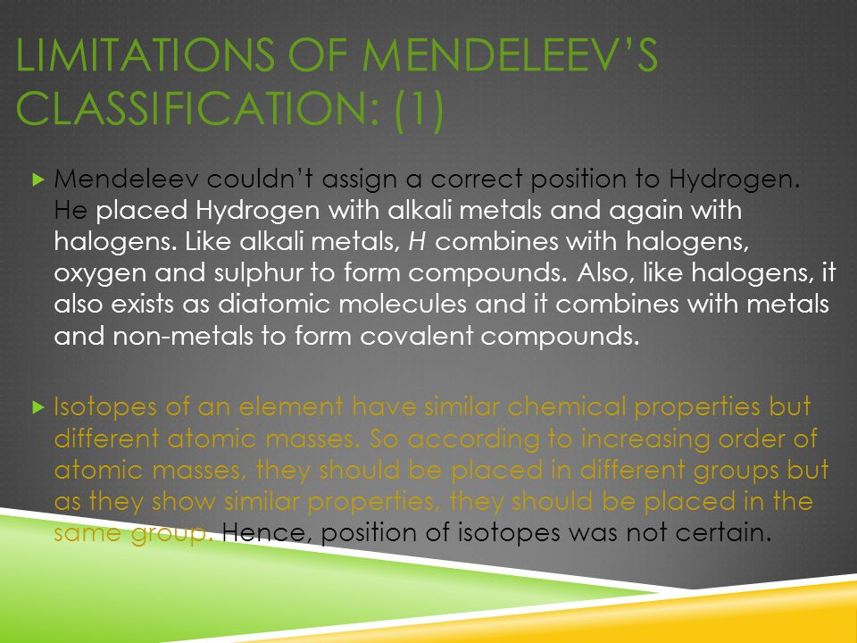 LIMITATIONS OF MENDELEEV'S CLASSIFICATION: (1)  Mendeleev couldn't assign a correct position to Hydrogen. He placed Hydrogen with alkali metals and a