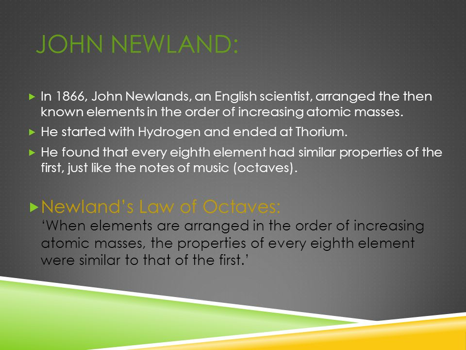 JOHN NEWLAND:  In 1866, John Newlands, an English scientist, arranged the then known elements in the order of increasing atomic masses.  He started