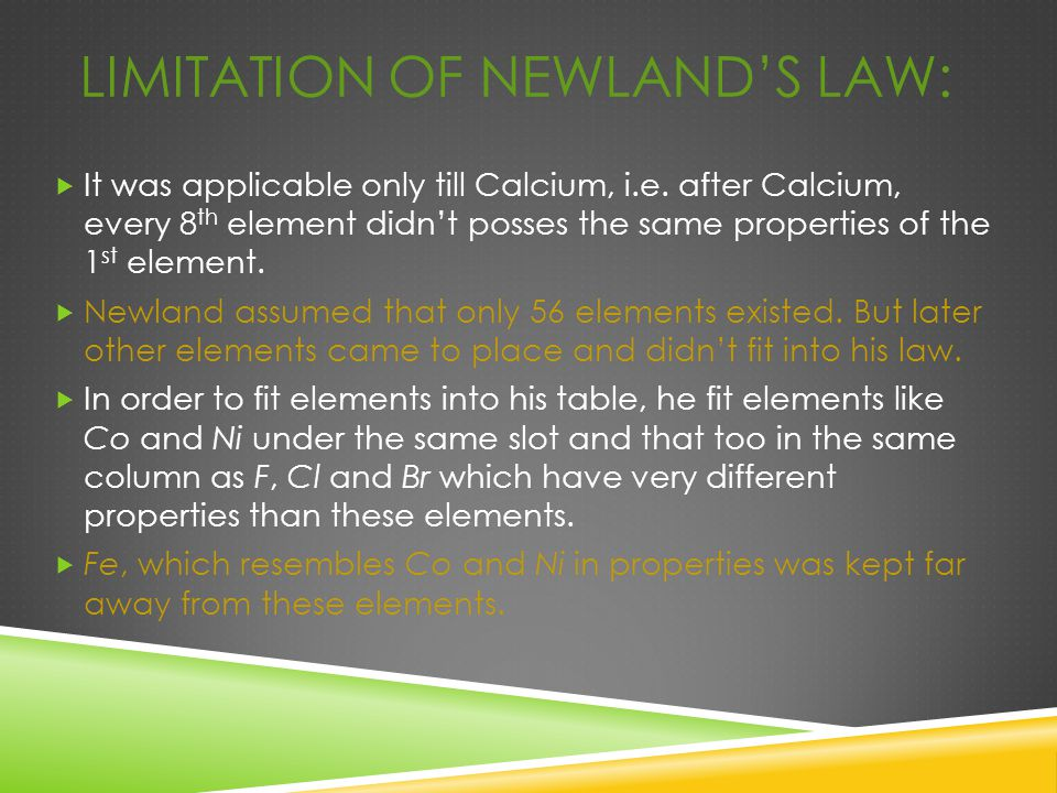 LIMITATION OF NEWLAND'S LAW:  It was applicable only till Calcium, i.e. after Calcium, every 8 th element didn't posses the same properties of the 1