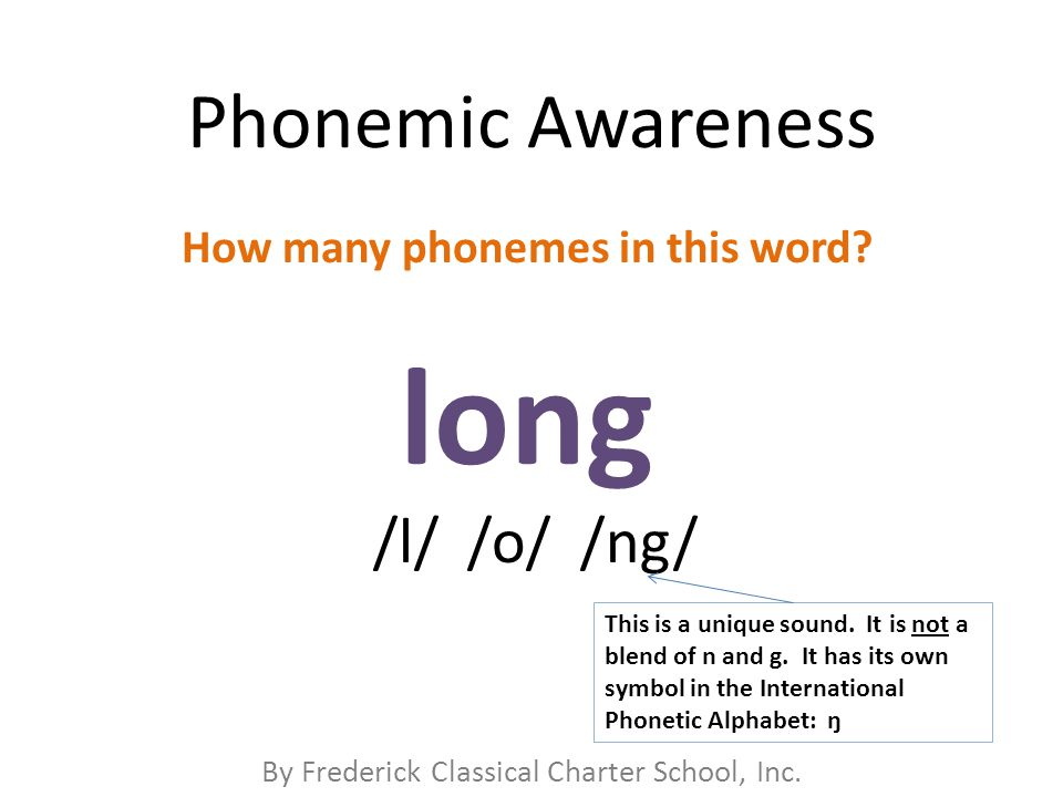 By Frederick Classical Charter School, Inc. Phonemic Awareness How many phonemes in this word.