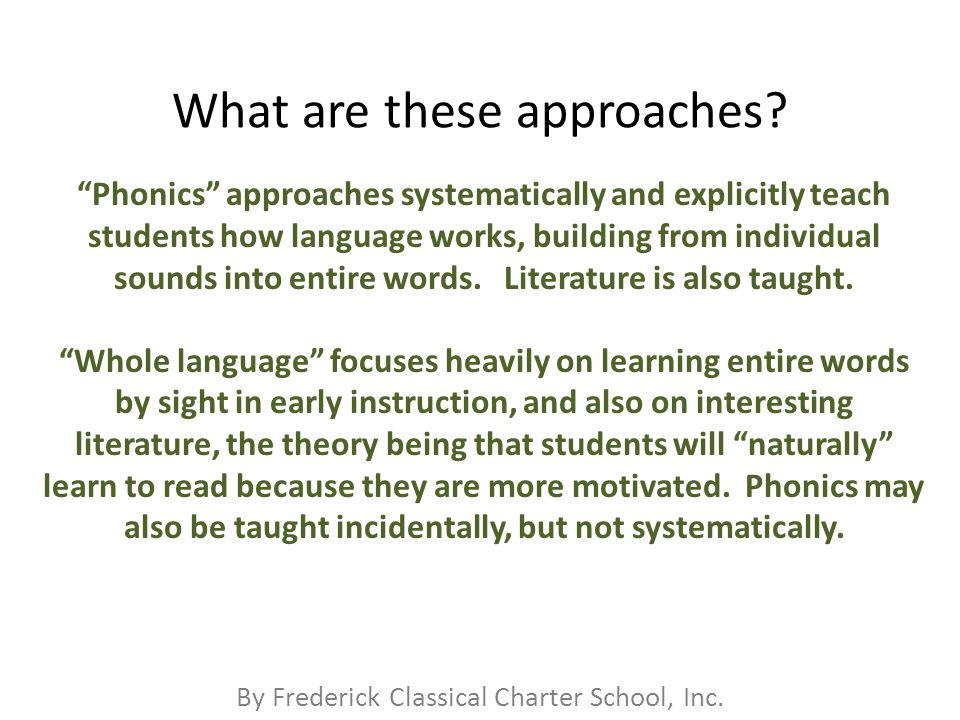 By Frederick Classical Charter School, Inc. What are these approaches.