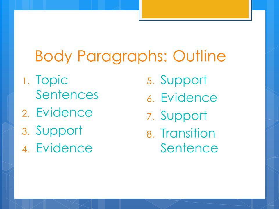 Body Paragraphs: Outline 1. Topic Sentences 2. Evidence 3. Support 4. Evidence 5. Support 6. Evidence 7. Support 8. Transition Sentence