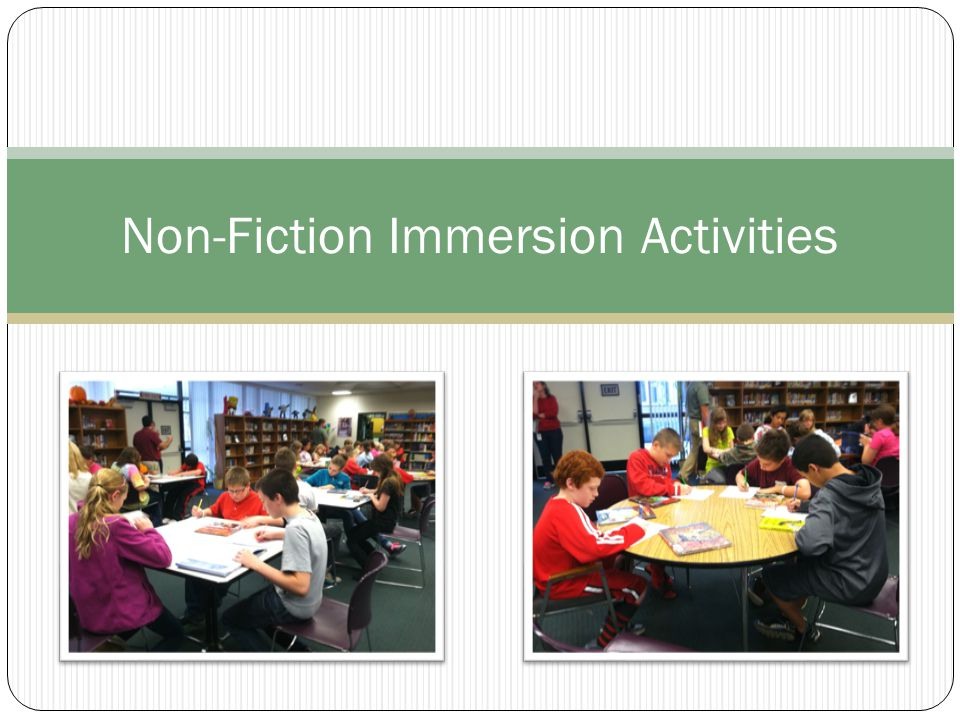 Fifth Grade Non-Fiction Scavenger Hunt Collaborative (partner) activity Mini lessons from teacher and librarian about text features and the parts of non-fiction books Used high interest books about outer space