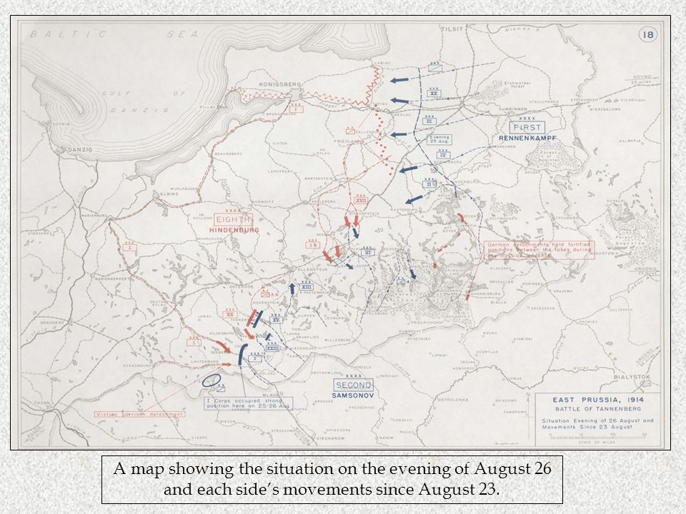 A map showing the situation on the evening of August 26 and each side's movements since August 23.