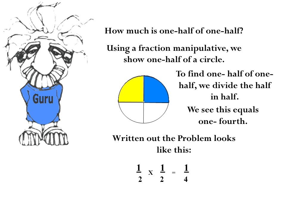 How much is one-half of one-half. Using a fraction manipulative, we show one-half of a circle.