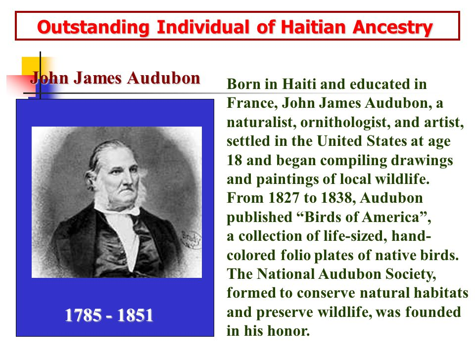 Outstanding Individual of Haitian Ancestry Outstanding Individual of Haitian Ancestry Born in Haiti and educated in France, John James Audubon, a naturalist, ornithologist, and artist, settled in the United States at age 18 and began compiling drawings and paintings of local wildlife.