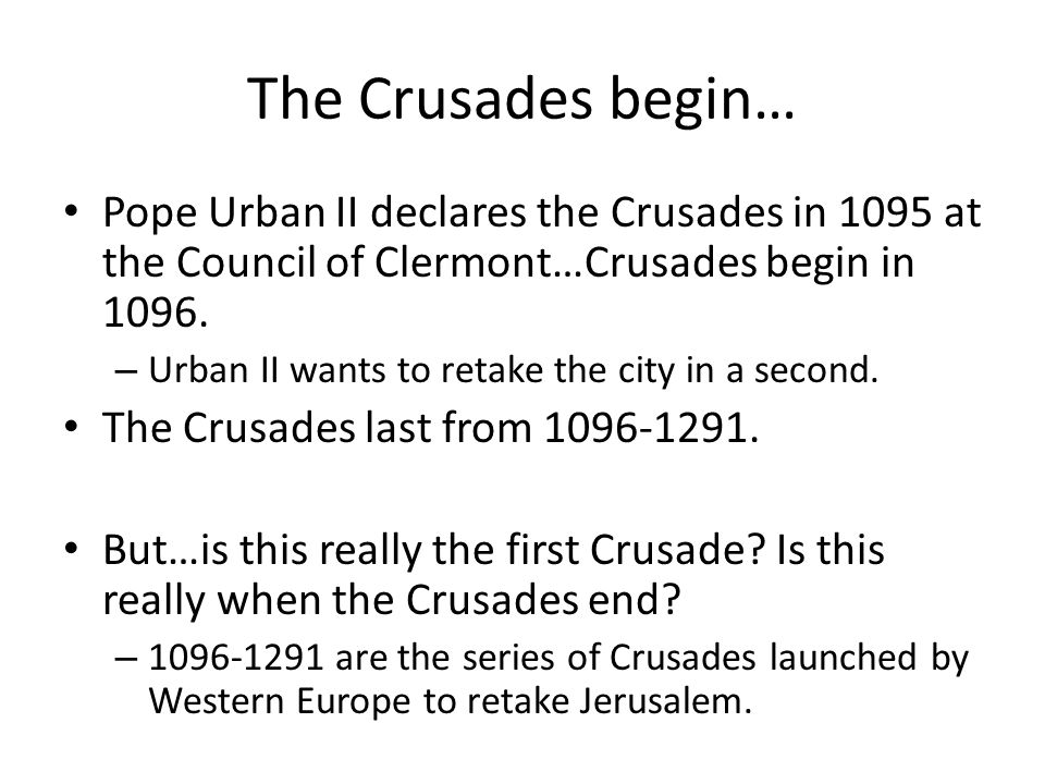 Crusades in other places Reconquista: 718-1492 Northern Crusades: 1193-1290 Albigensian Crusade: 1209-1229 Aragonese Crusade: 1284-1285