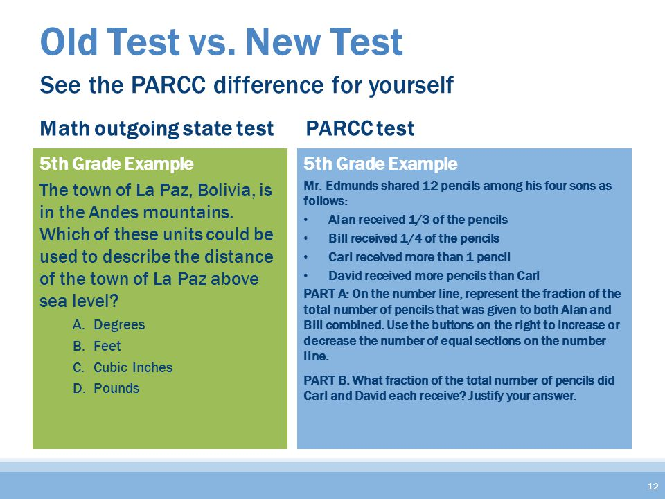 Old Test vs. New Test 12 See the PARCC difference for yourself 5th Grade Example Mr.
