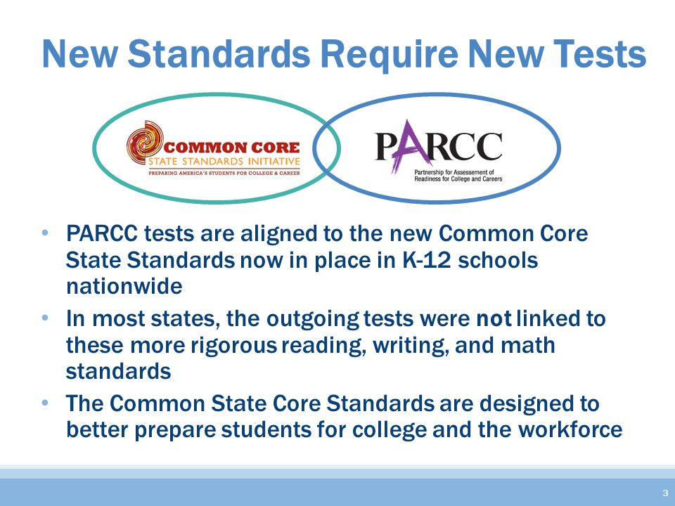 New Standards Require New Tests PARCC tests are aligned to the new Common Core State Standards now in place in K-12 schools nationwide In most states, the outgoing tests were not linked to these more rigorous reading, writing, and math standards The Common State Core Standards are designed to better prepare students for college and the workforce 3