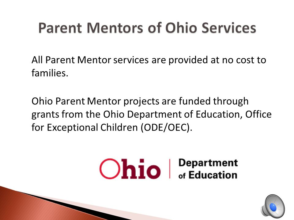 The mission of the Ohio Parent Mentors is to provide the necessary supports and resources to families of children with disabilities and the professionals that serve them.