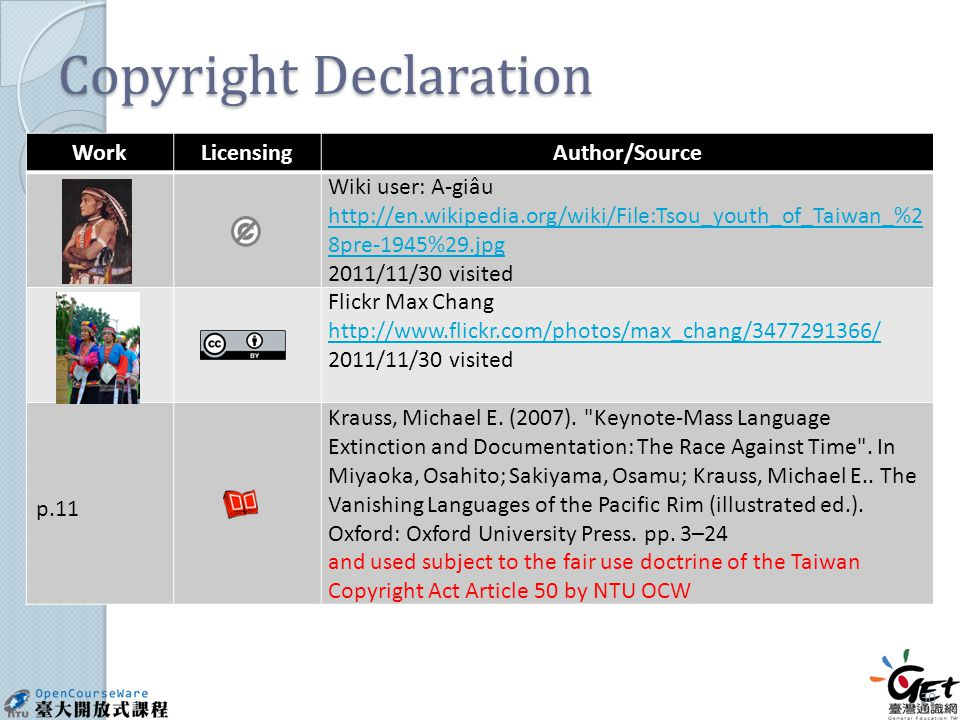 Copyright Declaration WorkLicensingAuthor/Source Wiki user: A-giâu http://en.wikipedia.org/wiki/File:Tsou_youth_of_Taiwan_%2 8pre-1945%29.jpg 2011/11/30 visited Flickr Max Chang http://www.flickr.com/photos/max_chang/3477291366/ 2011/11/30 visited p.11 Krauss, Michael E.