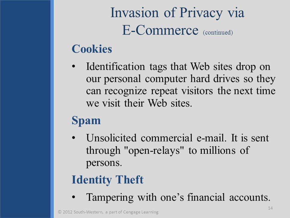 Invasion of Privacy via E-Commerce (continued) Cookies Identification tags that Web sites drop on our personal computer hard drives so they can recognize repeat visitors the next time we visit their Web sites.