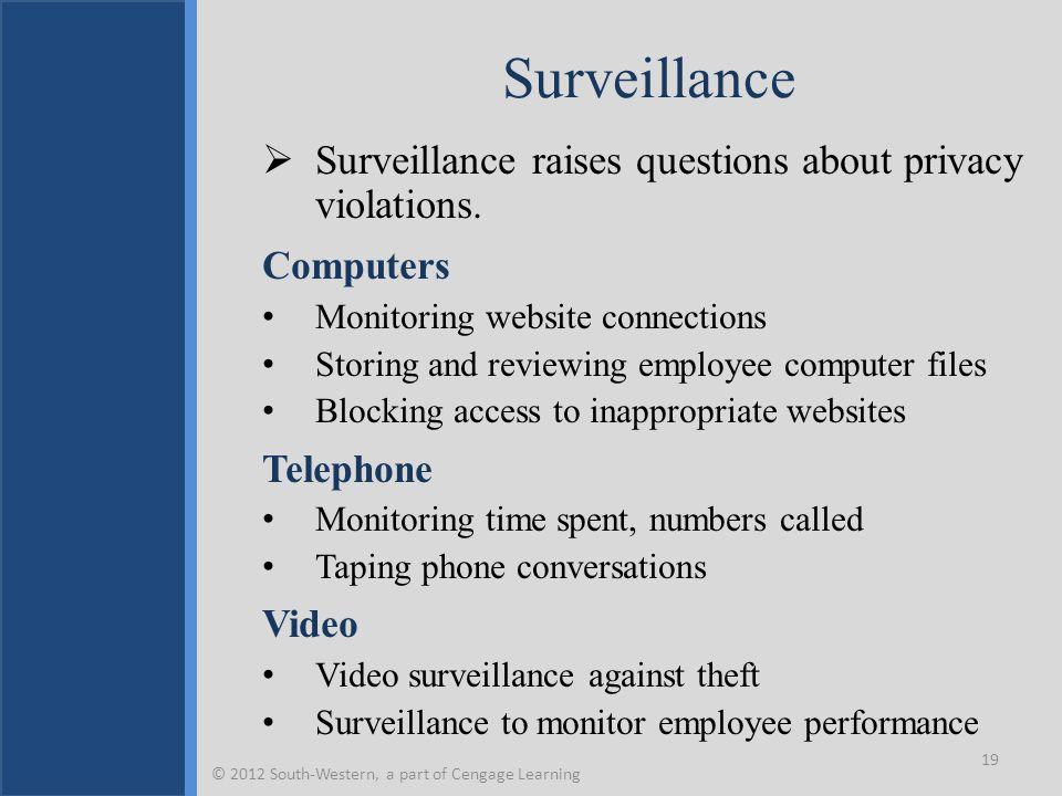 Surveillance  Surveillance raises questions about privacy violations.