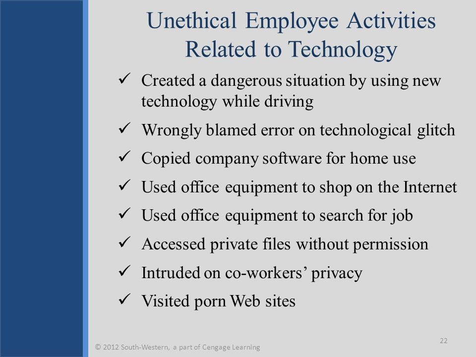 Unethical Employee Activities Related to Technology Created a dangerous situation by using new technology while driving Wrongly blamed error on technological glitch Copied company software for home use Used office equipment to shop on the Internet Used office equipment to search for job Accessed private files without permission Intruded on co-workers' privacy Visited porn Web sites 22 © 2012 South-Western, a part of Cengage Learning