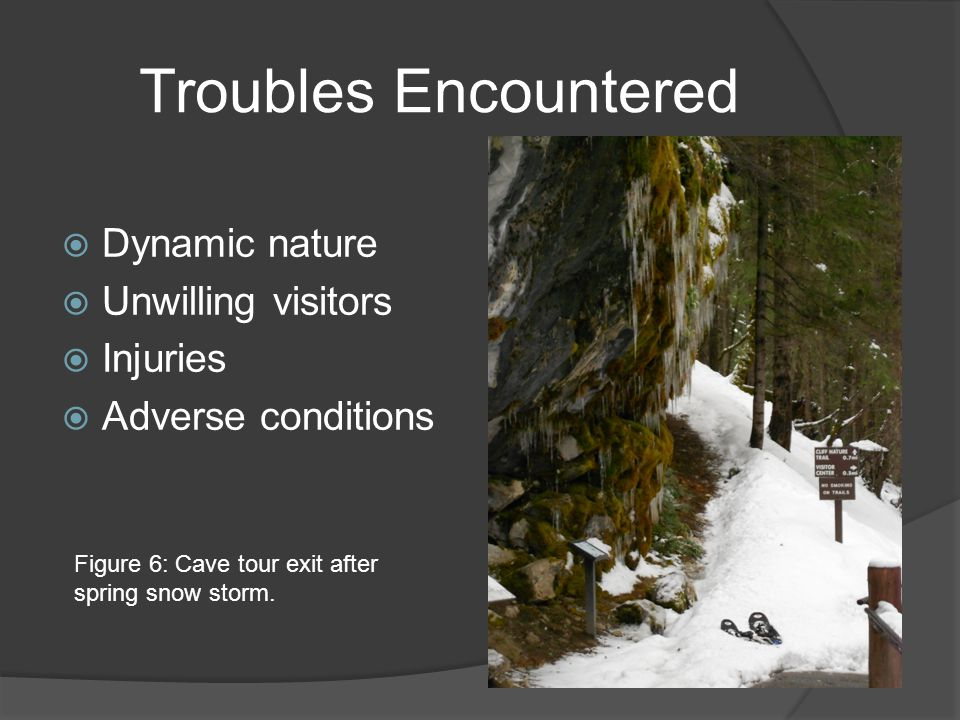 Troubles Encountered  Dynamic nature  Unwilling visitors  Injuries  Adverse conditions Figure 6: Cave tour exit after spring snow storm.