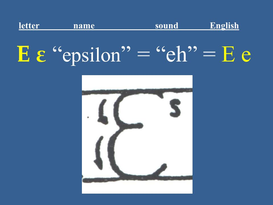 "Ε ε "" epsilon "" = ""eh"" = E e letter name sound English"