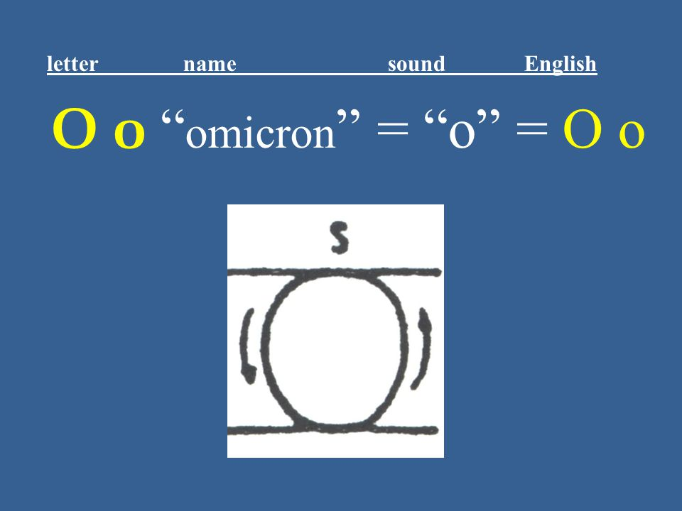 "Ο ο "" omicron "" = ""o"" = O o letter name sound English"