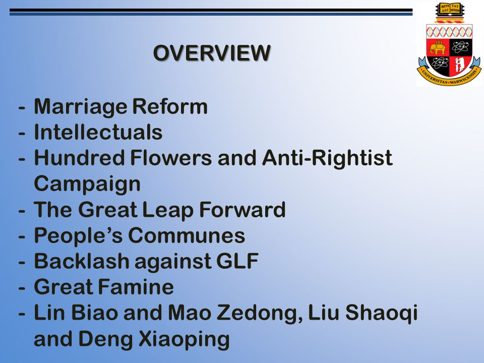 OVERVIEW -Marriage Reform -Intellectuals -Hundred Flowers and Anti-Rightist Campaign -The Great Leap Forward -People's Communes -Backlash against GLF -Great Famine -Lin Biao and Mao Zedong, Liu Shaoqi and Deng Xiaoping