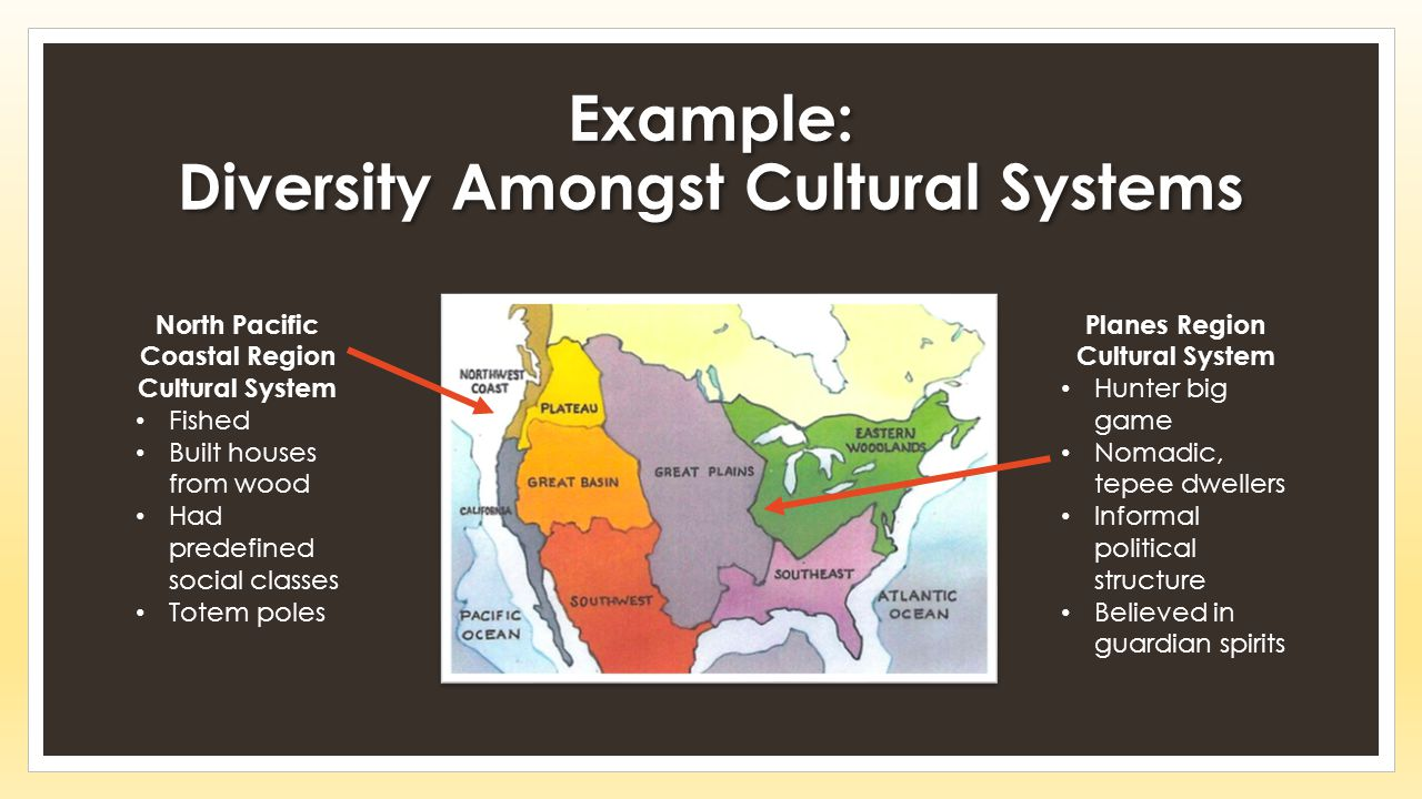 Example: Diversity Amongst Cultural Systems North Pacific Coastal Region Cultural System Fished Built houses from wood Had predefined social classes Totem poles Planes Region Cultural System Hunter big game Nomadic, tepee dwellers Informal political structure Believed in guardian spirits