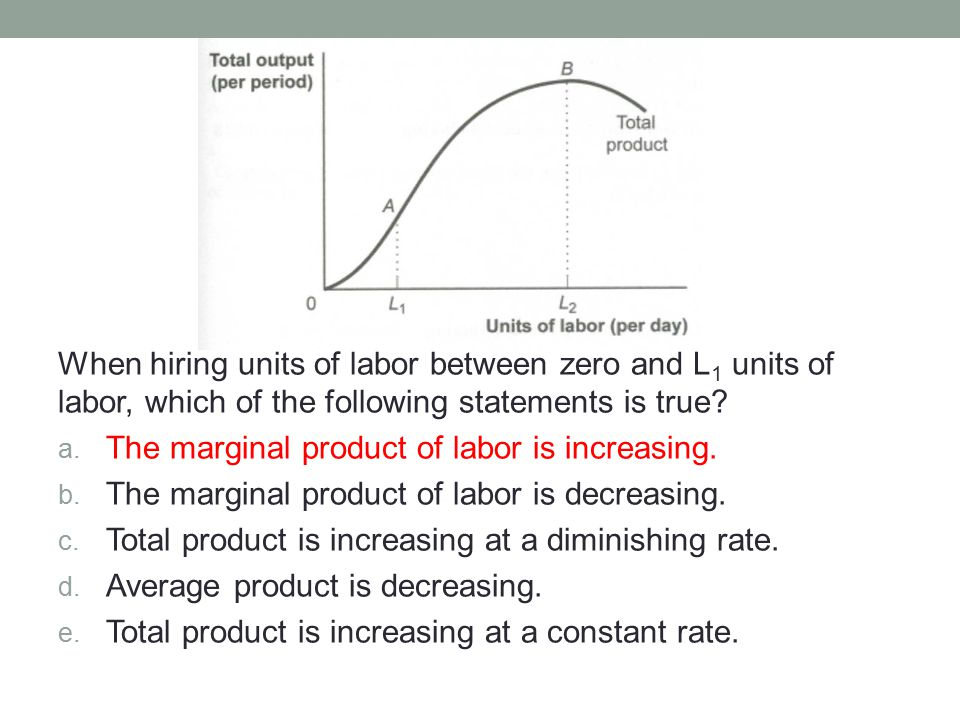 Hiring L 2 units of labor results in total product attaining a _____ and the marginal product of labor _____.