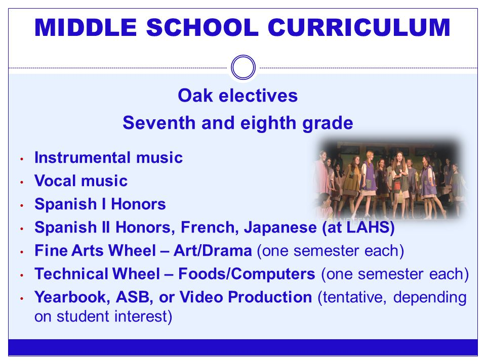 Oak electives Seventh and eighth grade Instrumental music Vocal music Spanish I Honors Spanish II Honors, French, Japanese (at LAHS) Fine Arts Wheel –