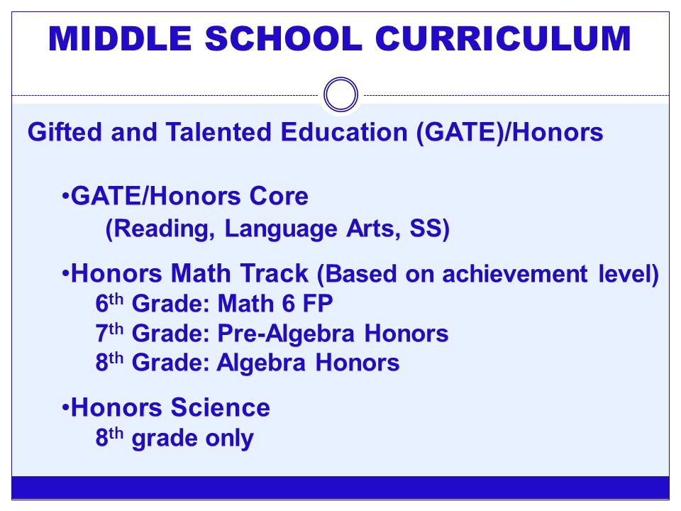 Gifted and Talented Education (GATE)/Honors GATE/Honors Core (Reading, Language Arts, SS) Honors Math Track (Based on achievement level) 6 th Grade: M