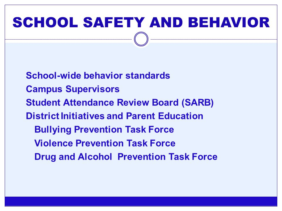 SCHOOL SAFETY AND BEHAVIOR School-wide behavior standards Campus Supervisors Student Attendance Review Board (SARB) District Initiatives and Parent Ed