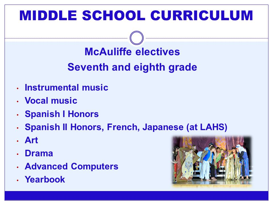 McAuliffe electives Seventh and eighth grade Instrumental music Vocal music Spanish I Honors Spanish II Honors, French, Japanese (at LAHS) Art Drama A