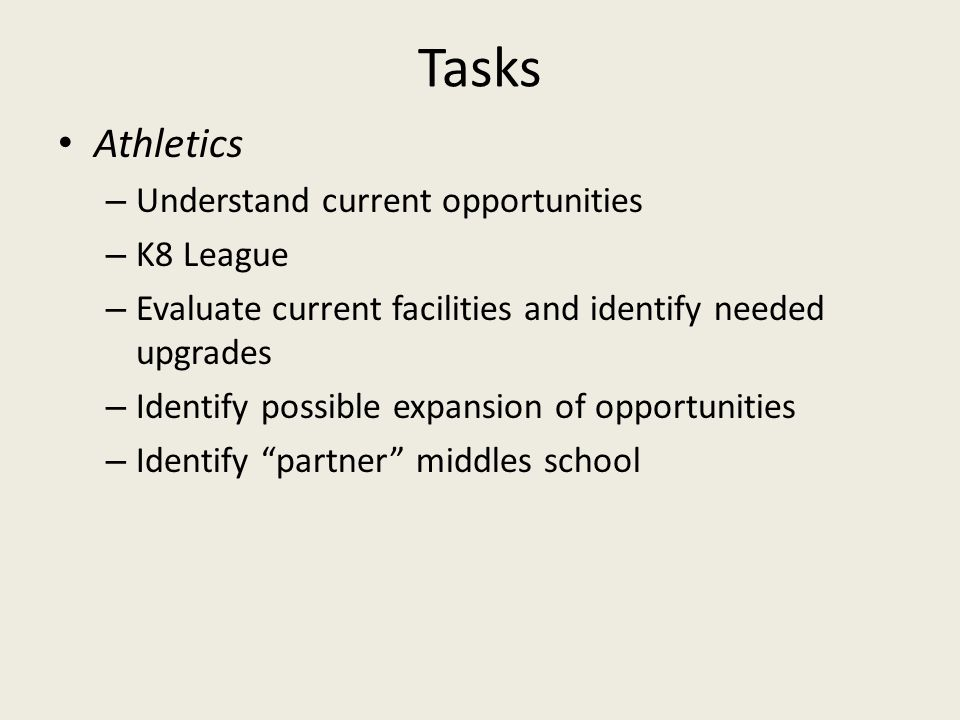Tasks Athletics – Understand current opportunities – K8 League – Evaluate current facilities and identify needed upgrades – Identify possible expansio