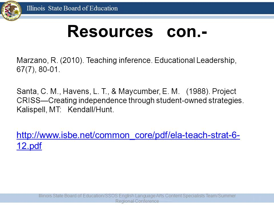 Resources con.- Marzano, R. (2010). Teaching inference.