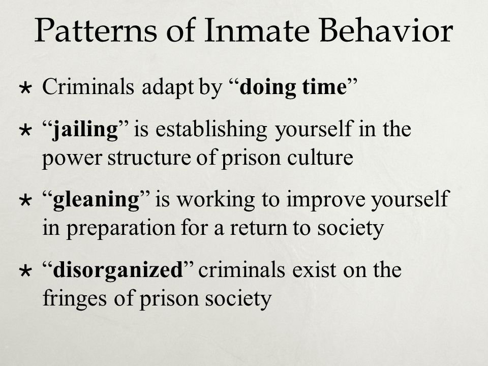 "Patterns of Inmate Behavior  Criminals adapt by ""doing time""  ""jailing"" is establishing yourself in the power structure of prison culture  ""gleanin"