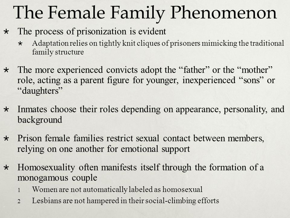 The Female Family Phenomenon  The process of prisonization is evident  Adaptation relies on tightly knit cliques of prisoners mimicking the traditio
