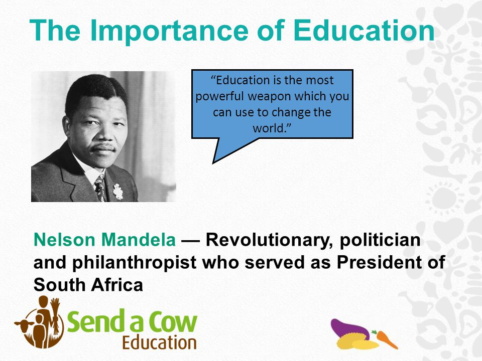 Education is the most powerful weapon which you can use to change the world. Nelson Mandela — Revolutionary, politician and philanthropist who served as President of South Africa The Importance of Education
