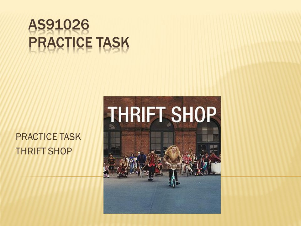 PRACTICE TASK THRIFT SHOP