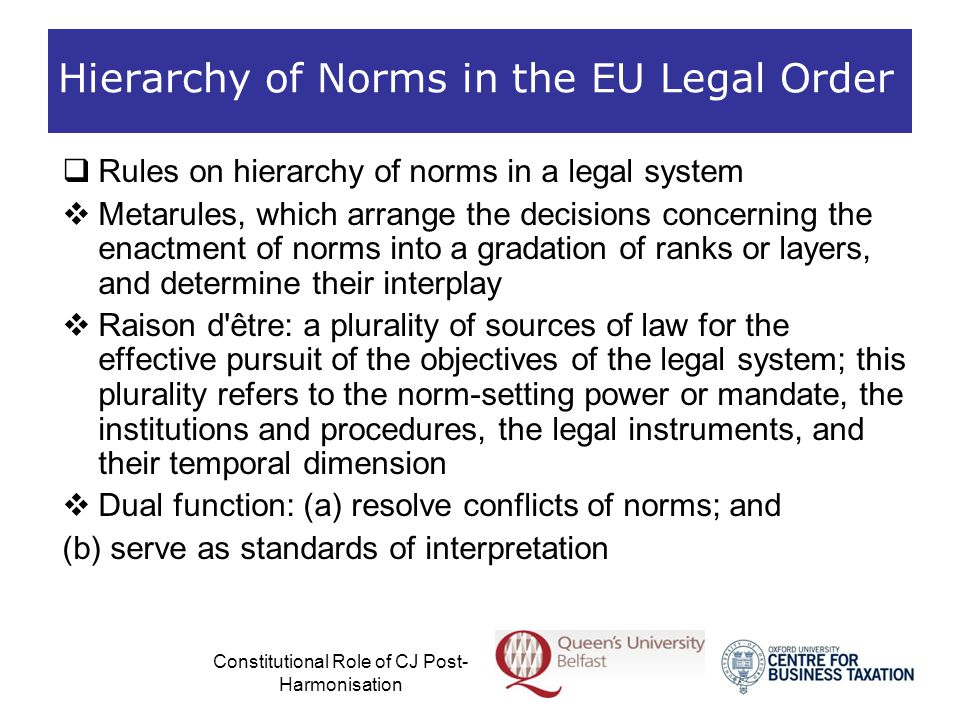 Constitutional Role of CJ Post- Harmonisation Hierarchy of Norms in the EU Legal Order  Rules on hierarchy of norms in the EU legal order  A shorthand of the EU order of competences given the dynamic nature of the interplay of the sources of EU law  An autonomous and integrated legal order, where the supranational Union and the domestic legal systems are closely intertwined  Pluralist reading of the EU legal order  No strict, single pyramidal hierarchy of norms  Dynamic, multidimensional network of norms and law- making instances at EU and national level, which co- exist without proper hierarchy  EU legal order as contrapuntal law (Maduro)