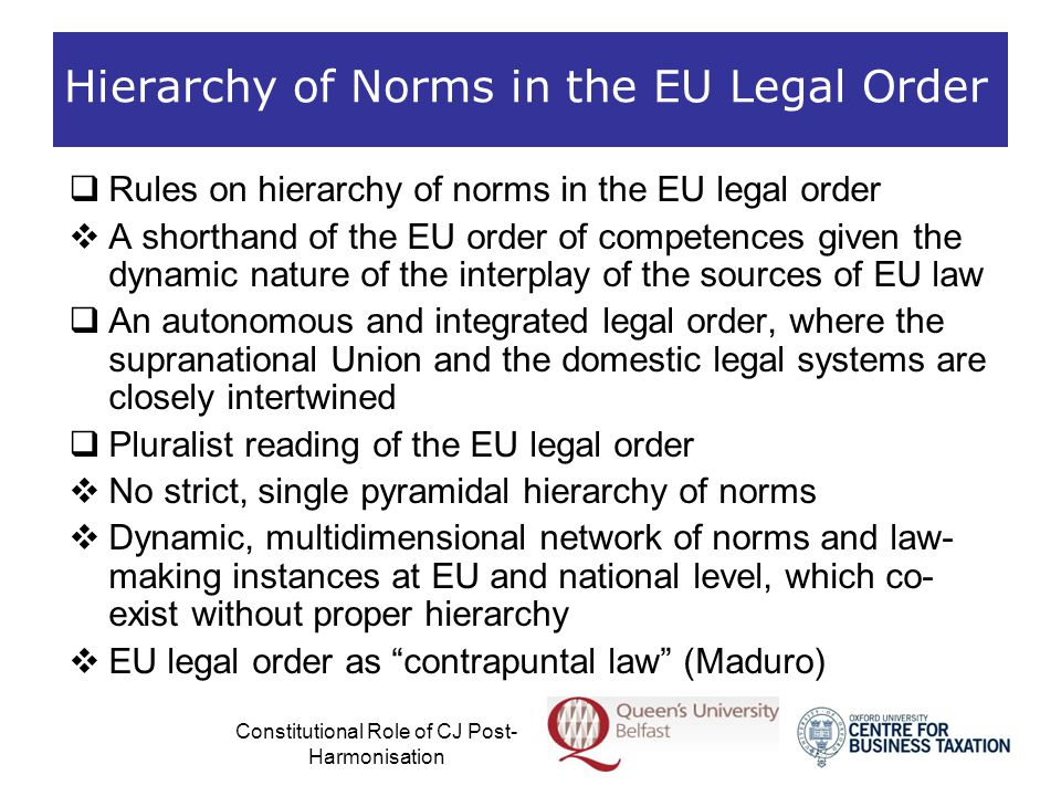 Constitutional Role of CJ Post- Harmonisation Exhaustive H armonisation  Areas of free movement subject to exhaustive harmonisation overall display the least rigorous level of constitutional review  But there are some exceptions that confirm the rule:  The CJ may strictly construe secondary law in order to rigorously examine national restrictions on the free movement that might have been permitted by derogations in secondary legislation  Where harmonious construction is not possible in order to save secondary law, the CJ may declare a provision of secondary law invalid